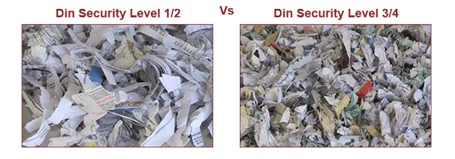 din level 3/4 shredding vs din level 1/2, confidential shredding