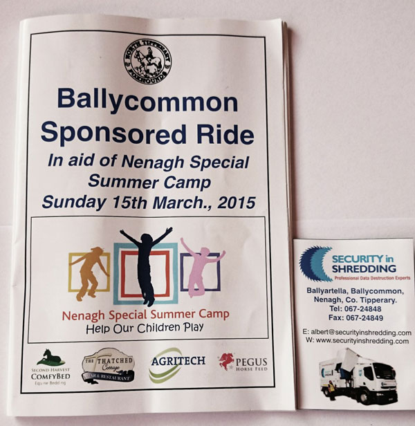 Security in Shredding sponsors Ballycommon Sponsored Ride 2015 in aid of Nenagh Special Summer Camp.
