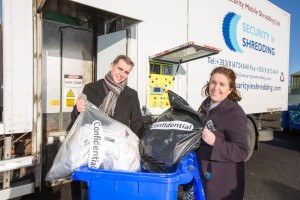 18/1/16 REPRO FREE Businesses and householders throughout Limerick are being invited to drop off confidential documents to be shredded free of charge at a one-day event in the Mungret Recycling Centre on Thursday, January 28th, from 11.00am to 3.30pm.     Pictured at the Mungret Recycling Centre are from left:  Albert Kelly of Security in Shredding and Sinead McDonnell, Environmental Awareness Officer, Limerick City and County Council. Limerick City and County Council in conjunction with Security in Shredding, a company that offers confidential document paper shredding services in Ireland, are facilitating the 'Free Shred Event' to mark European Data Protection Day 2016 and promote good waste management practices. Pic Sean Curtin Fusionshooters.